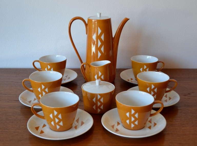 very cool 15 piece diamond pattern tea/coffee set by jonas roberts, japan