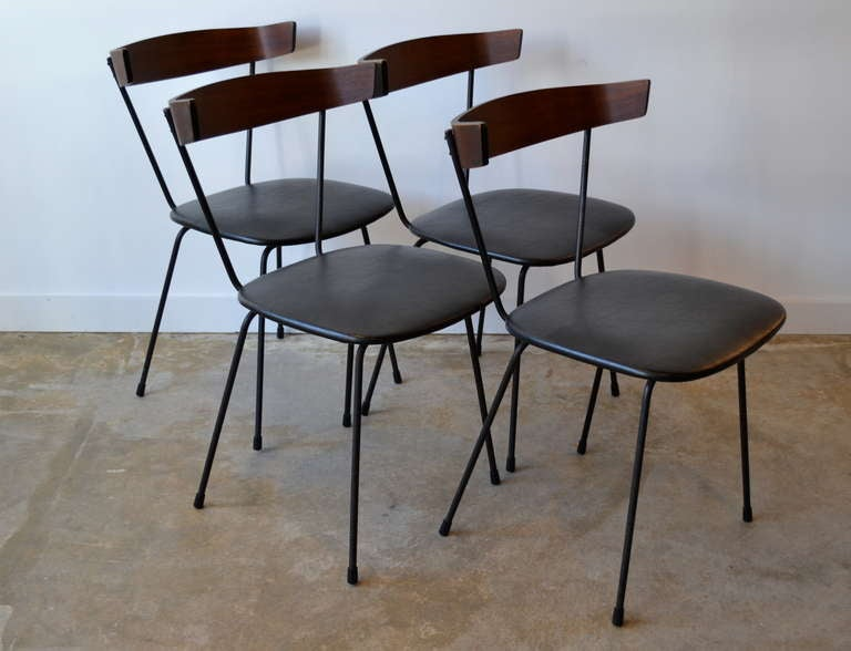 Paul McCobb Iron and Walnut Dining Chairs at 1stdibs