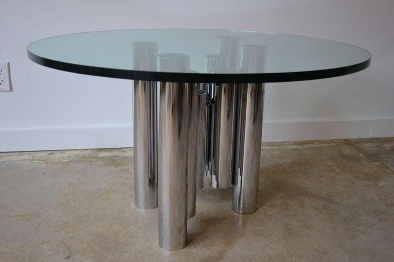 Mid-Century Tubular Chrome Column and Glass Coffee Table, 1970s 2
