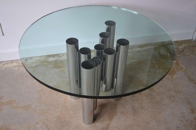 Mid-Century Tubular Chrome Column and Glass Coffee Table, 1970s 3