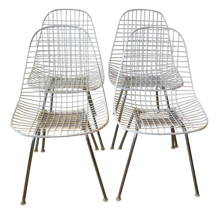 Eames wire dining chairs by herman miller at 1stdibs