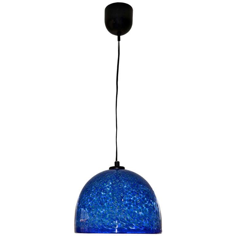vibrant blue murano glass pendant light by vistosi at 1stdibs