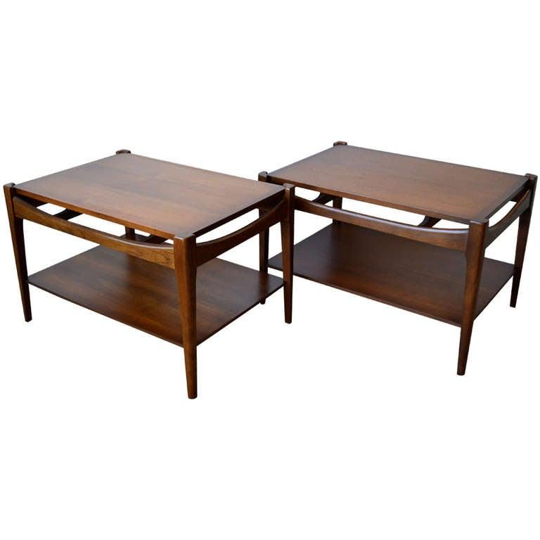 Danish Inspired Walnut Side Tables By Bassett At 1stdibs