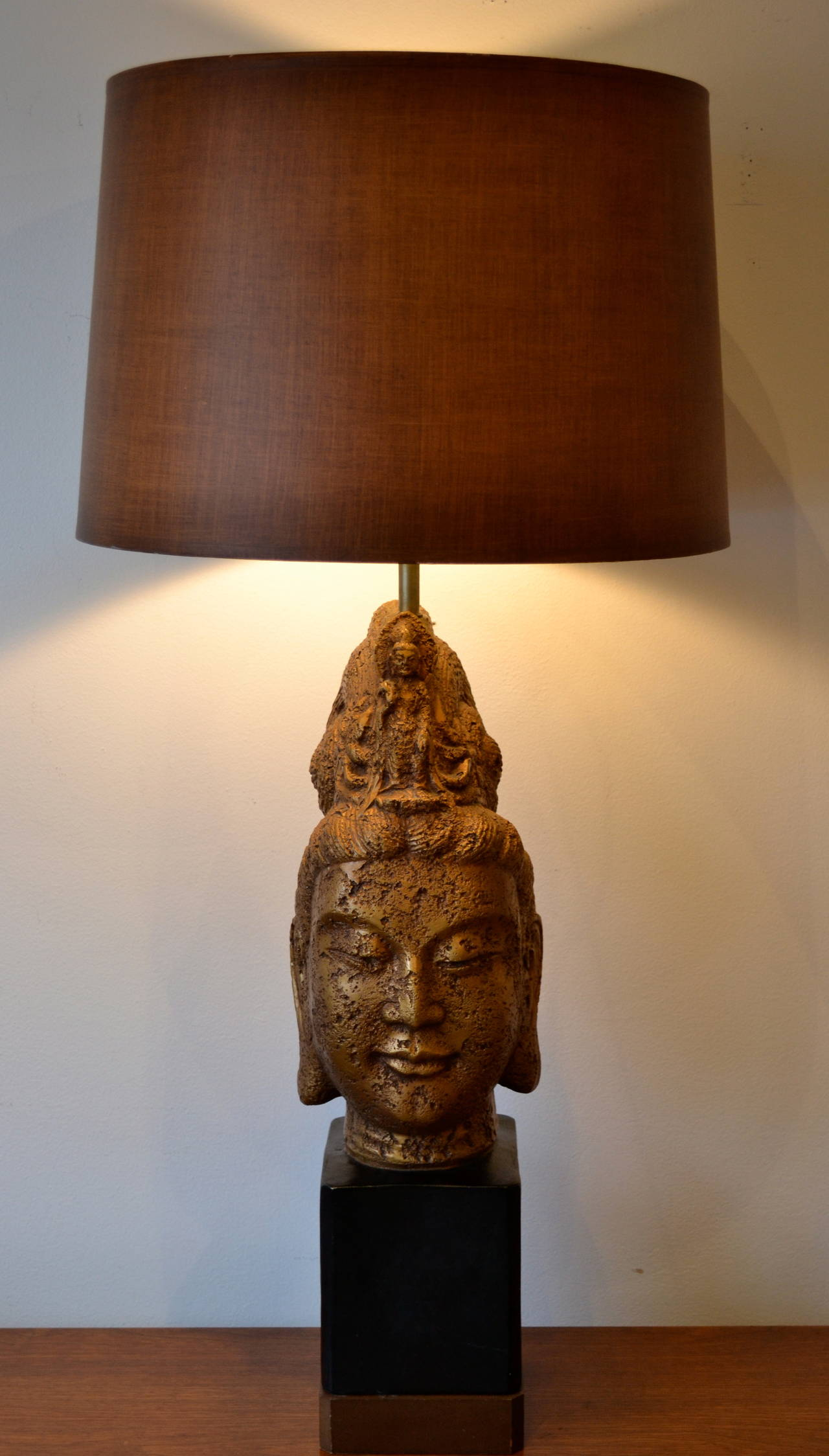 Awesome large Buddha head table lamp made of plaster.