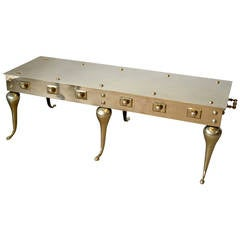 Polished Solid Brass Coffee Table by Maison Jensen for Mastercraft, circa 1960s