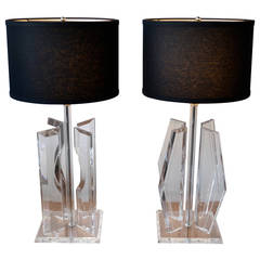 Pair of Large Mid-Century Modern Lucite and Chrome Table Lamps, 1970s