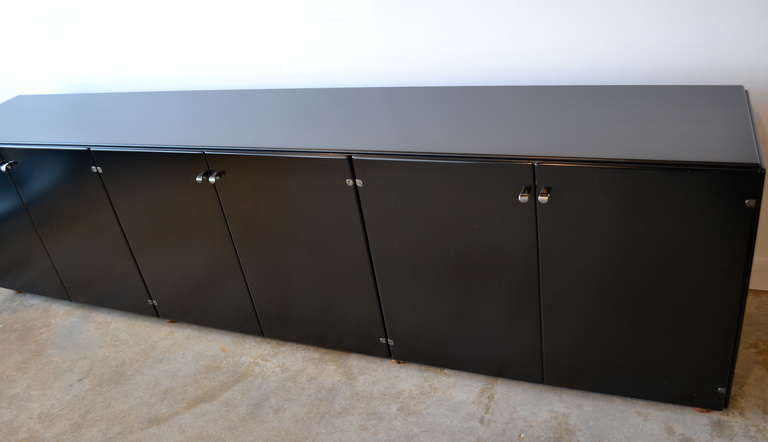 Black Lacquered Office Credenza By Gianfranco Frattini
