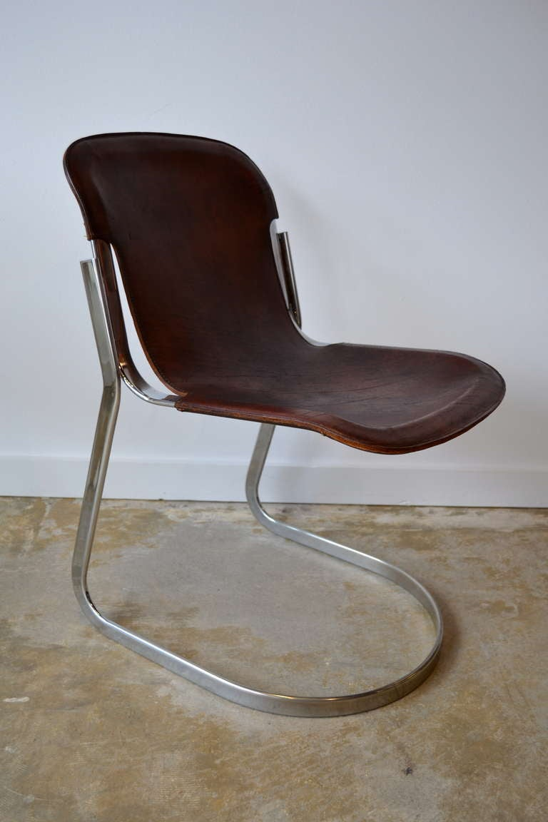 Charming 1970u0027s Cidue Edition Chrome Leather Chair 2