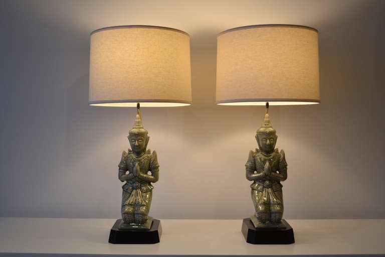 1940's Ceramic Buddha Table Lamps at 1stdibs