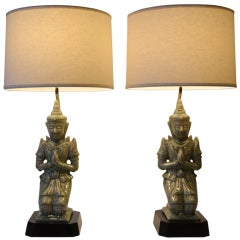 1940's Ceramic Buddha Table Lamps