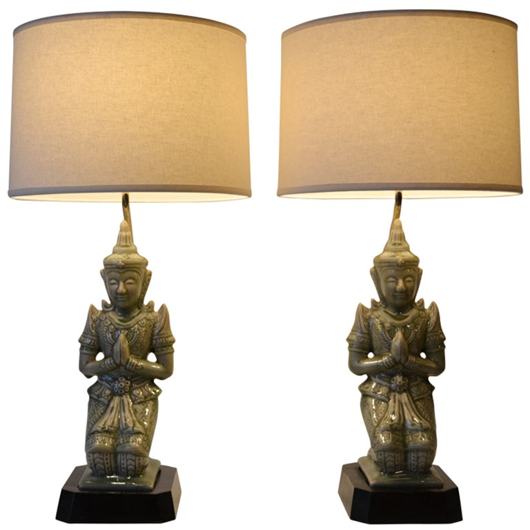 Buy Antique Handcrafted Buddha Lantern For Corporate: 1940's Ceramic Buddha Table Lamps At 1stdibs