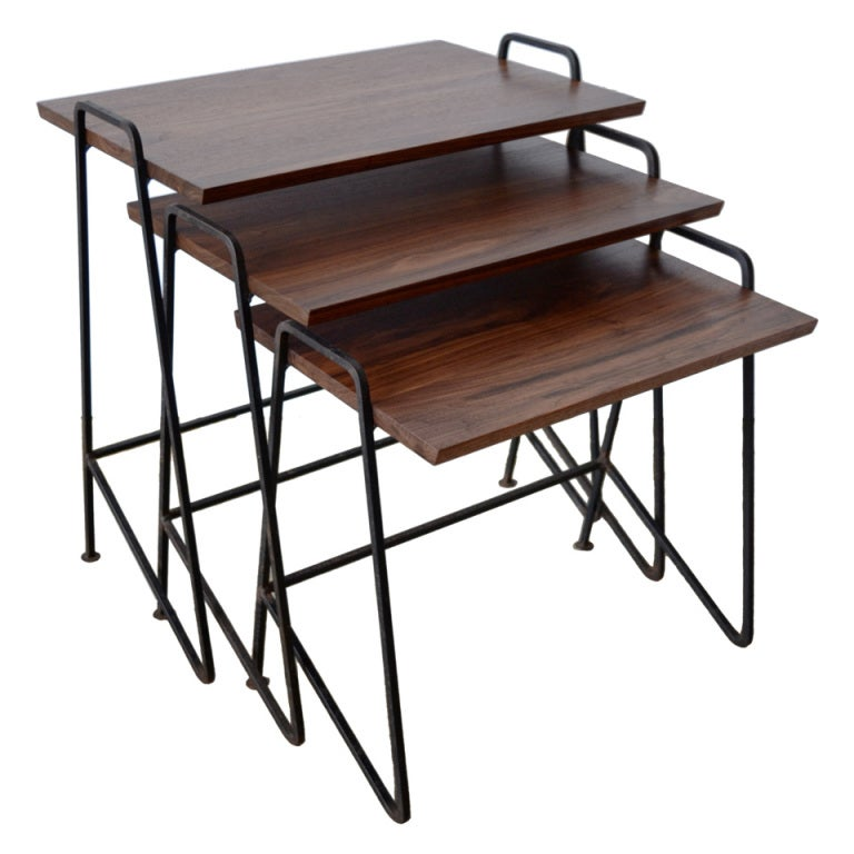 Awesome Tony Paul Walnut And Wrought Iron Nesting Tables, Circa 1950s 1