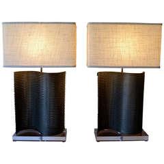 industrial brutalist conveyor belt table lamps in the style of harry bertoia