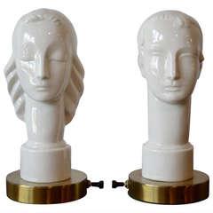 Art Deco Porcelain Figural Male Female Table Lamps by Lenox, circa 1940s