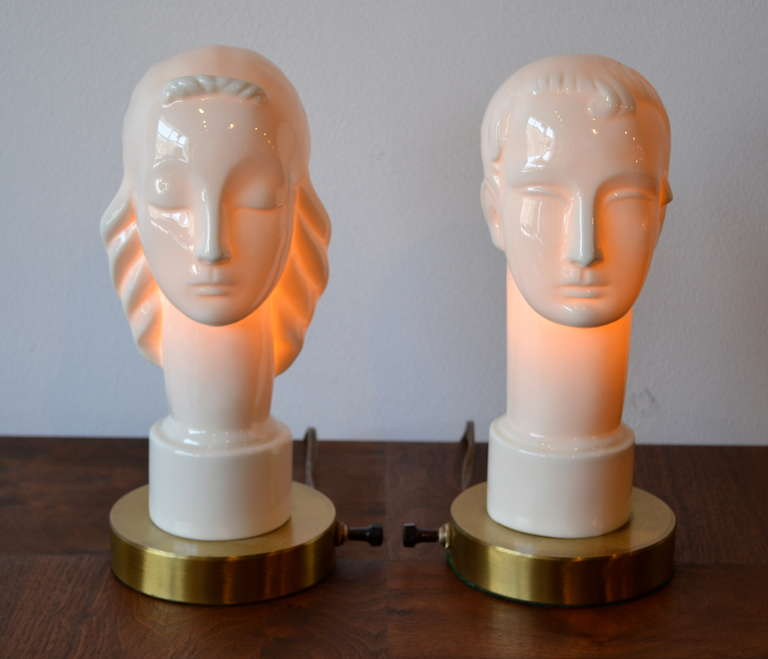 Art Deco Porcelain Figural Male Female Table Lamps By Lenox Circa 1940s 3