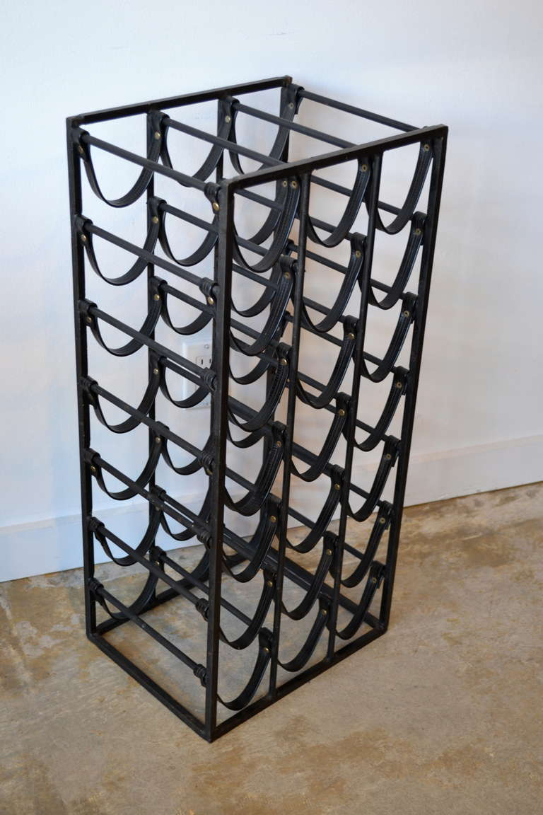 Mid Century Wrought Iron and Leather Wine Rack in the Manner of ...