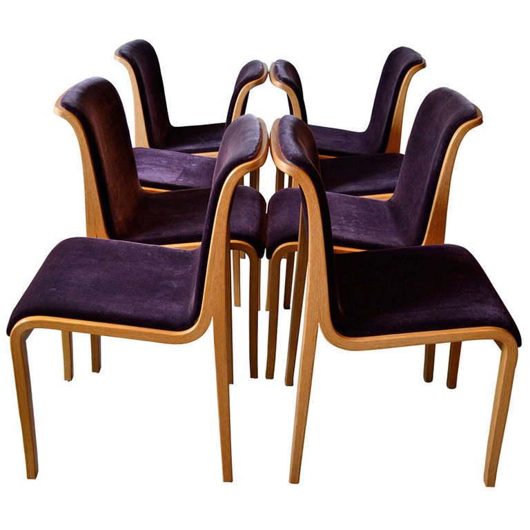 Knoll bent wood and mohair dining chairs by bill stephens for S bent dining room furniture