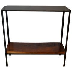 Industrail Metal Foyer Table with Walnut Shelf