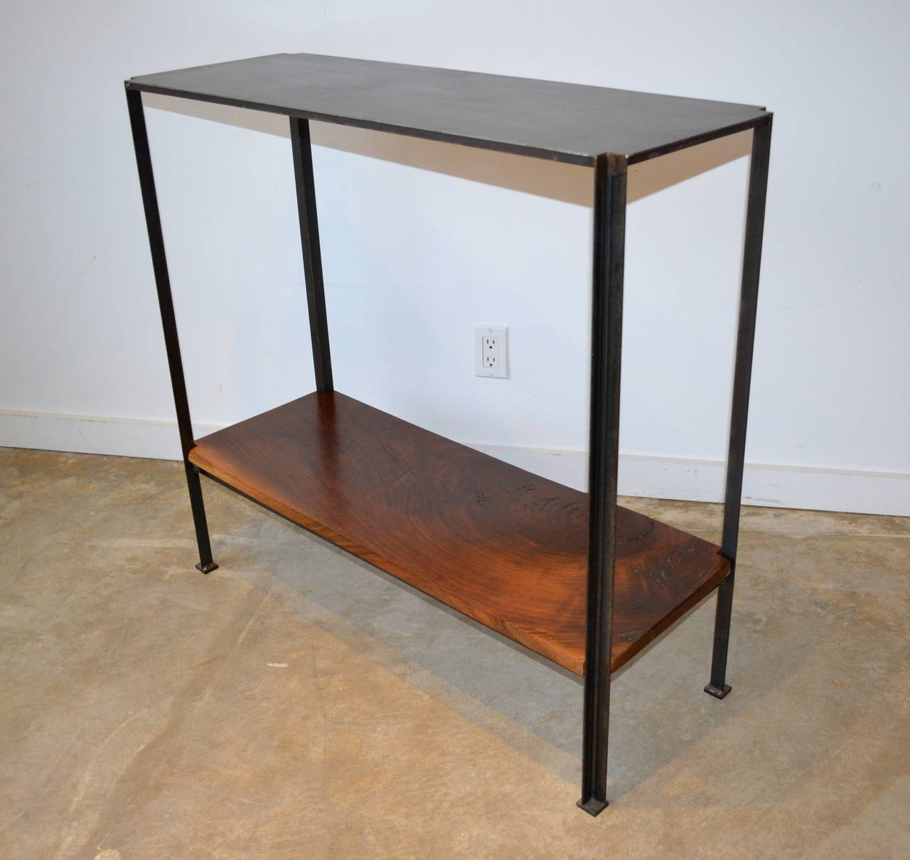 Metal Foyer Table : Industrail metal foyer table with walnut shelf at stdibs