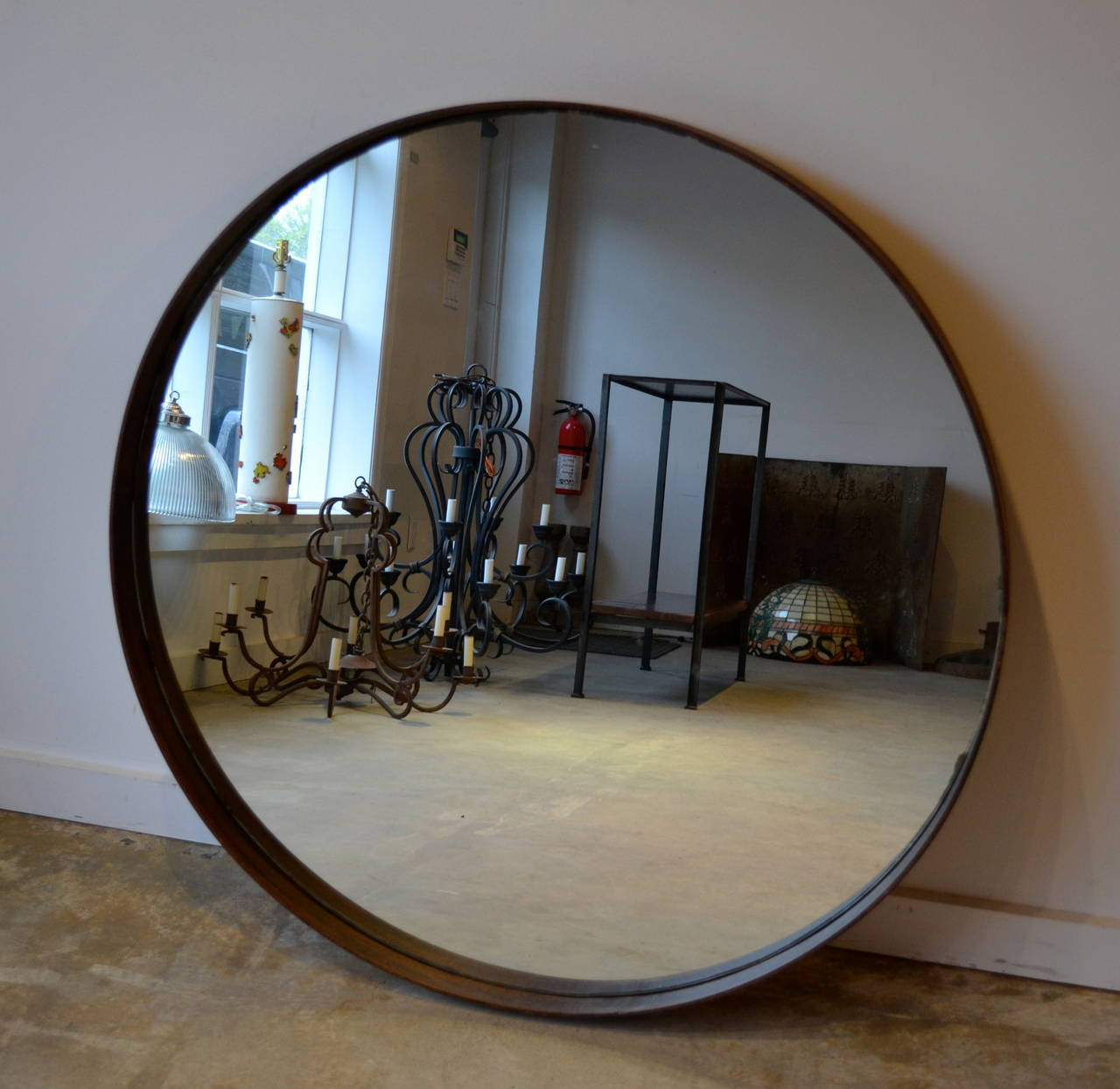 industrial round metal band mirror . industrial round metal band mirror at stdibs