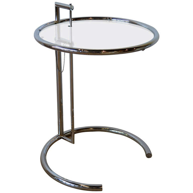 Eileen Gray Chrome And Gl Round Side Table E1027 For