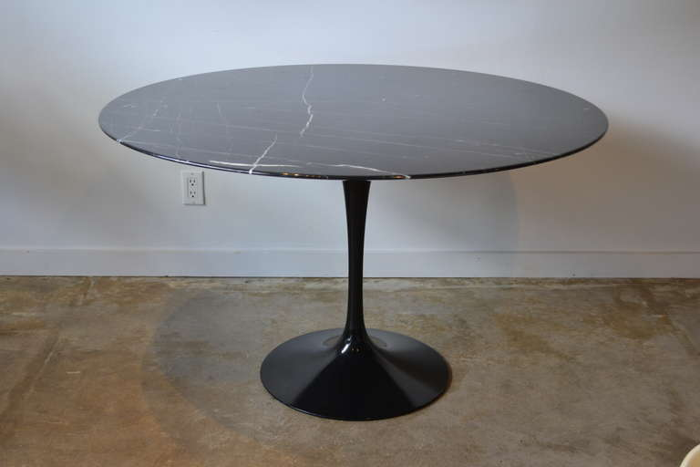 Eero Saarinen Tulip Base and Black Carrera Marble Dining Table at