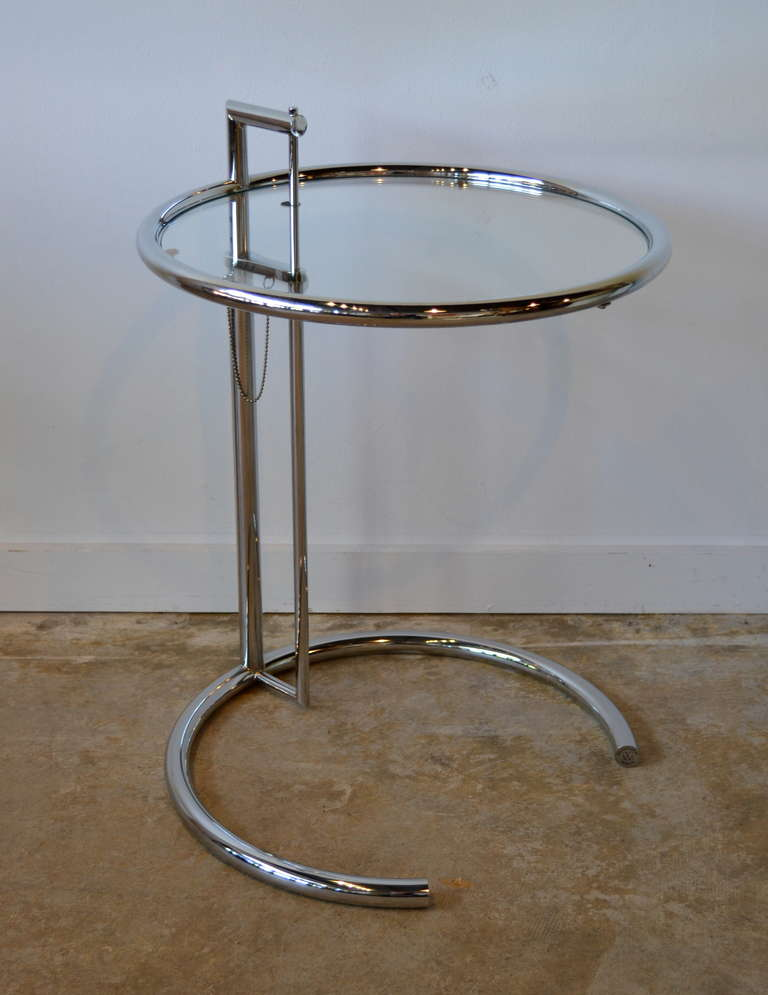 eileen gray chrome and glass round side table e1027 at 1stdibs. Black Bedroom Furniture Sets. Home Design Ideas