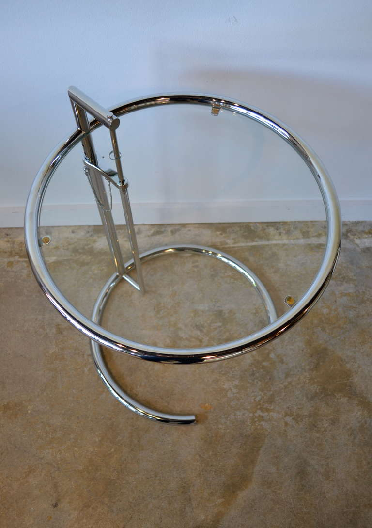 Eileen Gray Chrome And Glass Round Side Table E1027 3