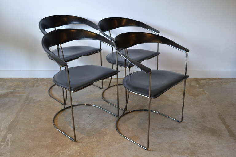 Set Of Four Very Chic Black Leather And Gun Metal Chrome Dining Chairs Manufactured In Italy