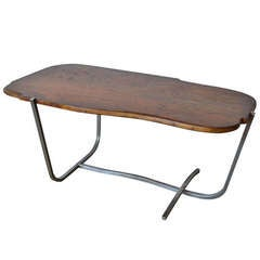 Mid Century Walnut & Aluminum Coffee Table