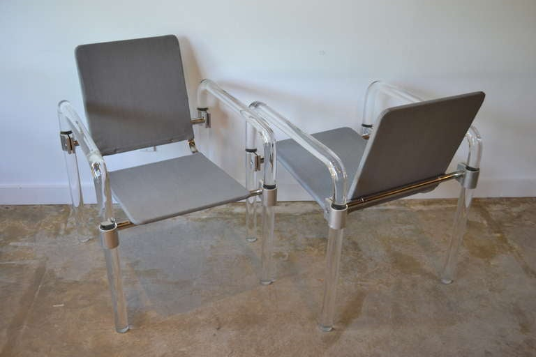American Pair of Lucite and Aluminum Side Chairs By Jeff Messerschmidt for Knoll, 1970's For Sale