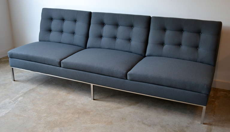 Florence Knoll Sofa With Stainless Steel Frame And Charcoal Knoll Fabric 1960s For Sale At 1stdibs
