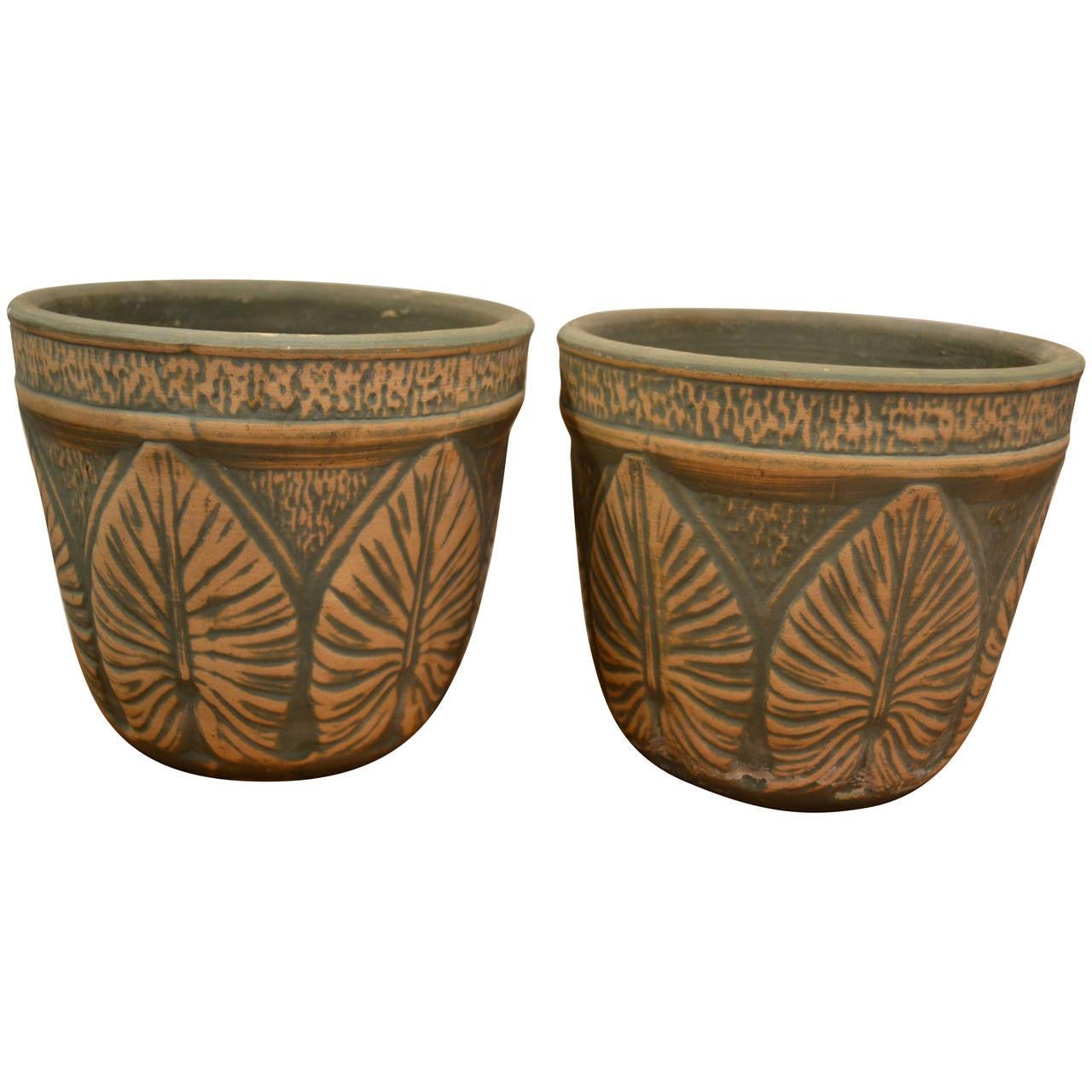Pair Of Art Deco Lotus Leaf Garden Pots At 1stdibs