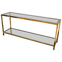Hollywood Regency Lacquered Brass and Glass Foyer Table