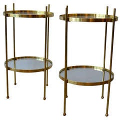 hollywood regency solid brass & glass round side tables