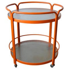 Large Vintage Vibrant Orange Aluminum and Glass Indoor or Outdoor Serving Cart