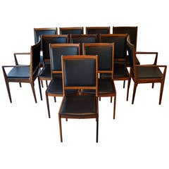 12 Mid-Century Modern Rosewood and Leather Dining Chairs by JL Møller, Denmark