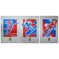 Vintage 1992 Winter Olympics Venue Posters, Skiing, Ski Jump and Ice Skating