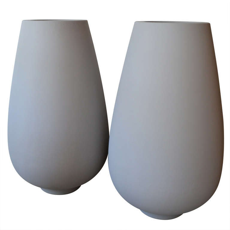 Pair of Massive Mid Century Modern Light Gray Fiberglass Floor Garden Planters
