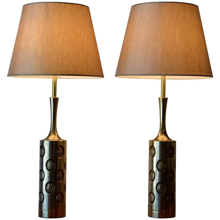 Large Pair of Brass Embossed Table Lamps by Laurel, Mid-Century Modern