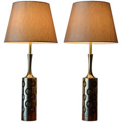 Pair of Mid Century Modern Brass Embossed Table Lamps by Laurel Lamp Co, 1960's
