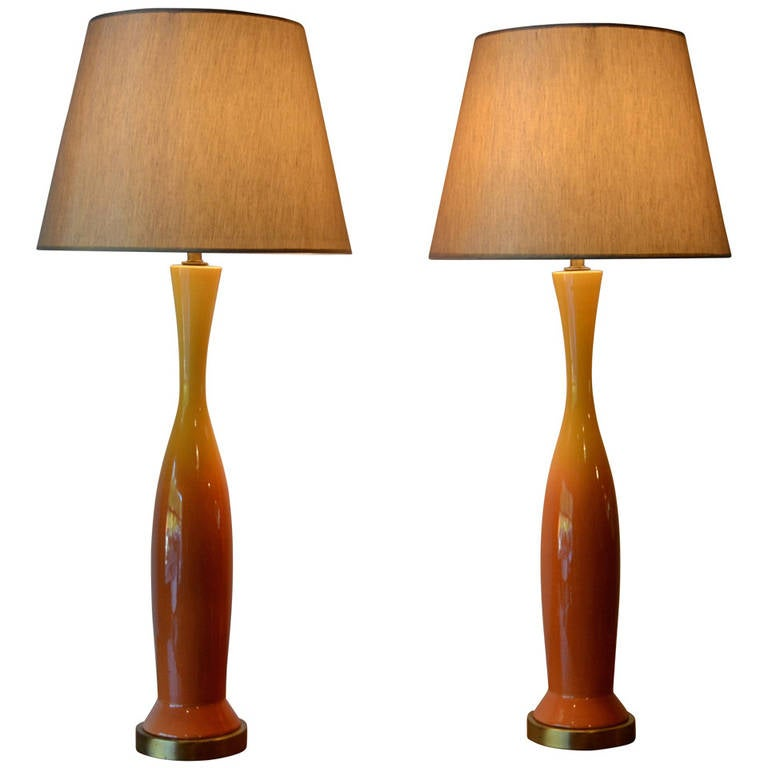 Pair Of Mid Century Modern Orange Yellow Ombre Glazed Ceramic Table Lamps For
