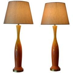 Pair of Mid Century Modern Orange Yellow Ombre Glazed Ceramic Table Lamps