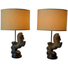 Fredric Weinberg Zebra/Horse Table Lamps, Mid-Century Modern, Circa 1950s