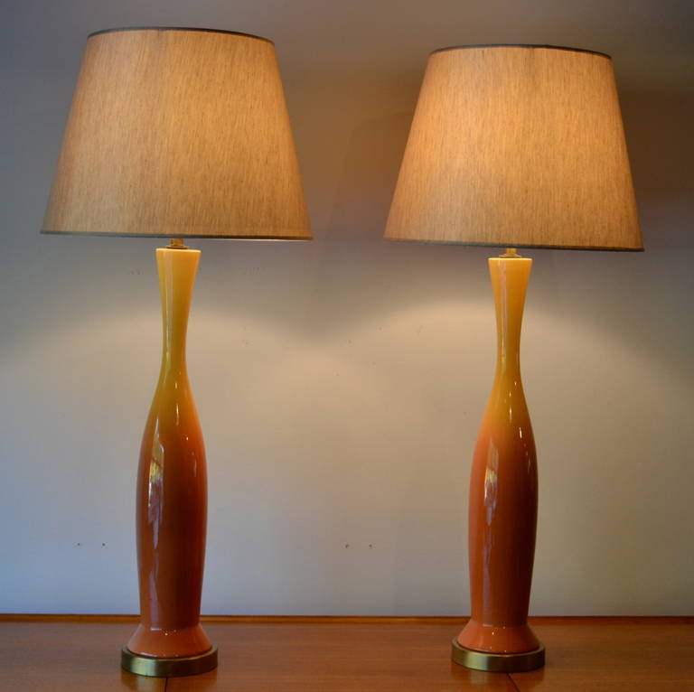 tall glazed ceramic table lamps at 1stdibs