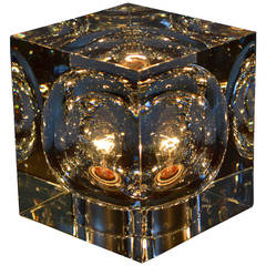 crystal cube lamp by robert rigot for baccarat, france, 1970's