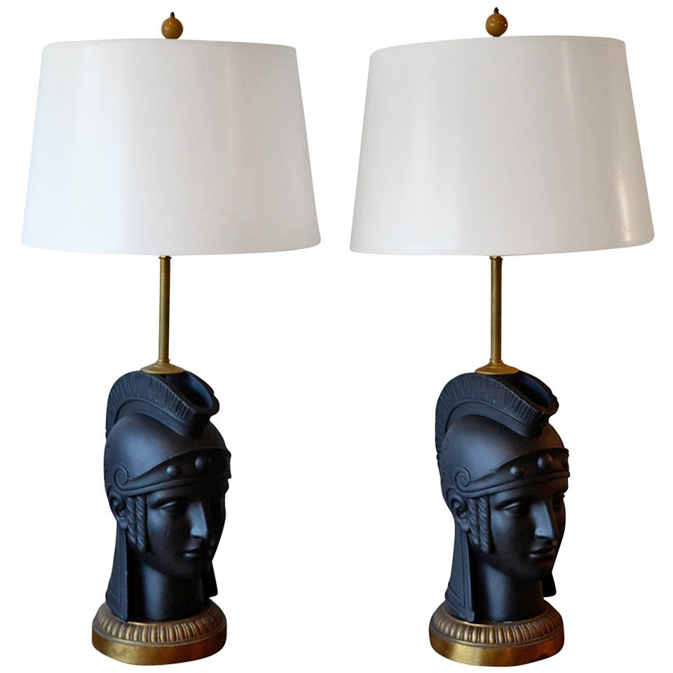 Pair of Mid-Century Modern Black Roman Gladiator Table Lamps by ...