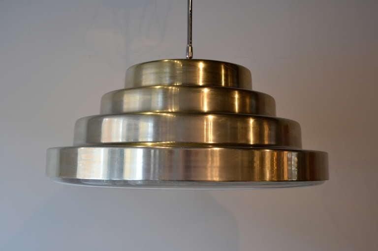 Mid-Century Modern Mid Century Modern Large Chrome Pendant Light by Paul Mayen for Habitat, 1970s For Sale