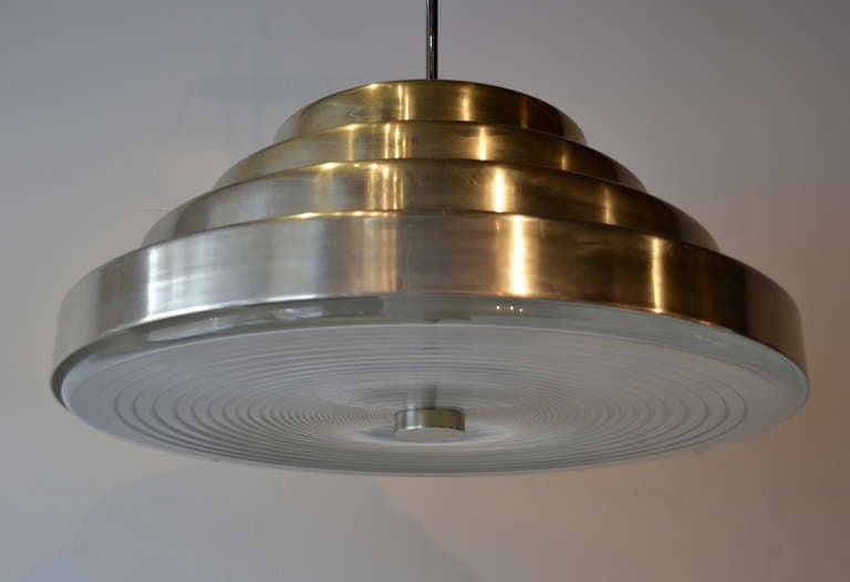 Mid Century Modern Awesome Enormous chrome pendant by Paul Mayen design for Habitat NY, chrome finish with lumacryl diffuser.