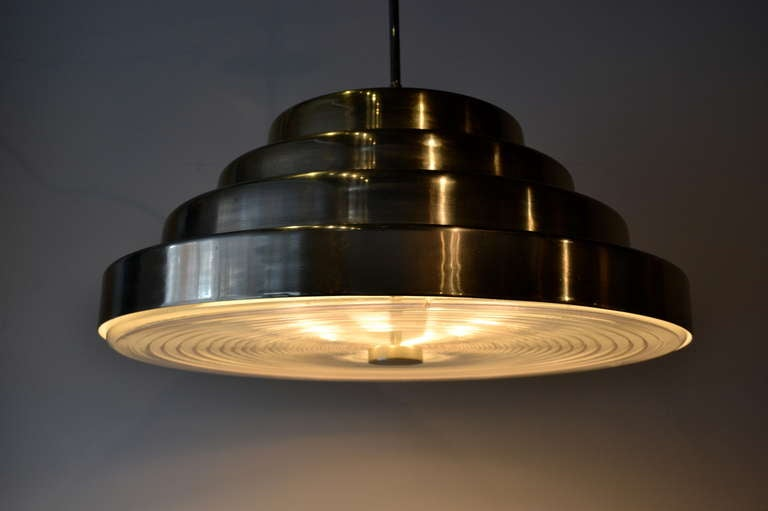 Mid Century Modern Large Chrome Pendant Light by Paul Mayen for Habitat, 1970s For Sale 1